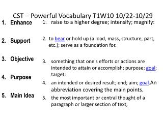 CST – Powerful Vocabulary  T1W10 10/22-10/29