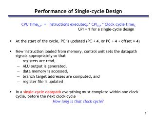 Performance of Single-cycle Design