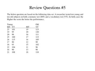 Review Questions #5