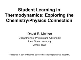 Student Learning in Thermodynamics: Exploring the Chemistry