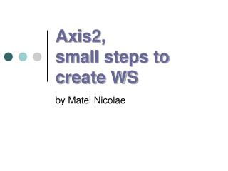 Axis2, small steps to create WS