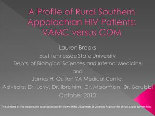 A Profile of Rural Southern Appalachian HIV Patients: VAMC versus COM