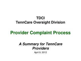 TDCI TennCare Oversight Division Provider Complaint Process