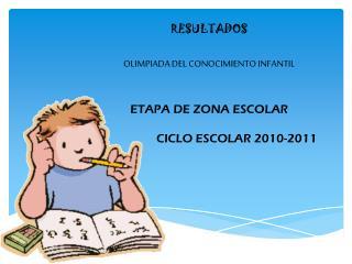 RESULTADOS OLIMPIADA DEL CONOCIMIENTO INFANTIL ETAPA DE ZONA ESCOLAR