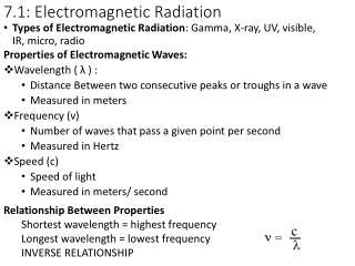 7 .1: Electromagnetic Radiation