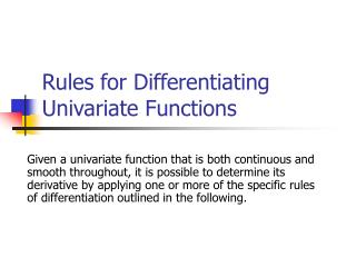 Rules for Differentiating Univariate Functions