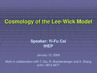 Cosmology of the Lee-Wick Model