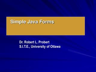 Simple Java Forms
