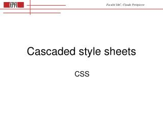 Cascaded style sheets