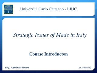 Strategic Issues of Made in Italy