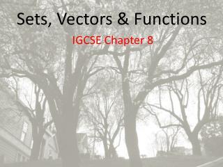 Sets, Vectors & Functions