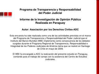 Programa de Transparencia y Responsabilidad  del Poder Judicial