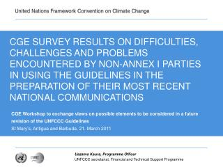 CGE SURVEY RESULTS ON DIFFICULTIES, CHALLENGES AND PROBLEMS ENCOUNTERED BY NON-ANNEX I PARTIES IN USING THE GUIDELINES I