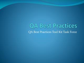 QA Best Practices