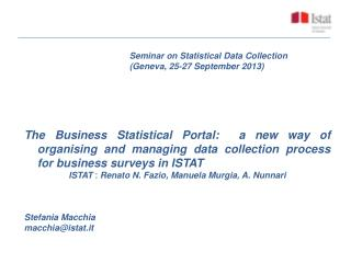 Seminar on Statistical Data Collection 				(Geneva, 25-27 September 2013)