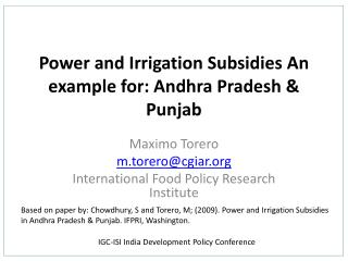 Power and Irrigation Subsidies  An example for: Andhra  Pradesh & Punjab