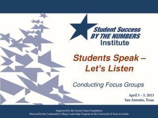 Students Speak – Let's Listen