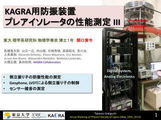 KAGRA 用防振 装置 プレアイソレータ の性能測定  III