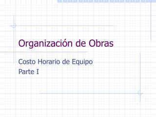 Organizaci�n de Obras
