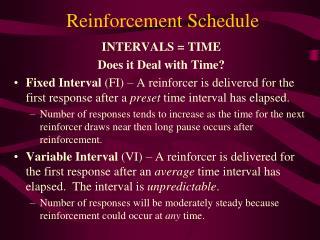 Reinforcement Schedule
