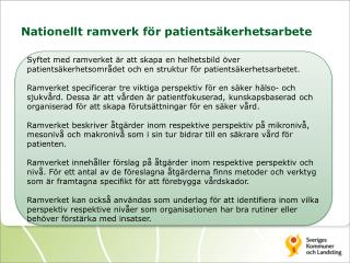Nationellt ramverk för  patientsäkerhetsarbete