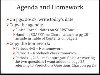 Agenda and Homework