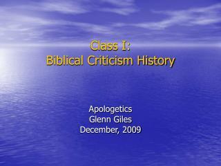 Class I:  Biblical Criticism History