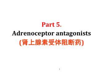 Part 5 .  Adrenoceptor antagonists (肾上腺素受体阻断药)