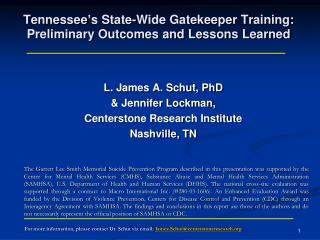 Tennessee's State-Wide Gatekeeper Training: Preliminary Outcomes and Lessons Learned