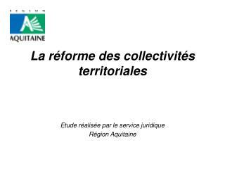 La r forme des collectivit s territoriales