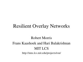 Resilient Overlay Networks