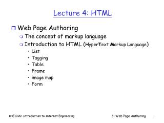 Lecture 4: HTML