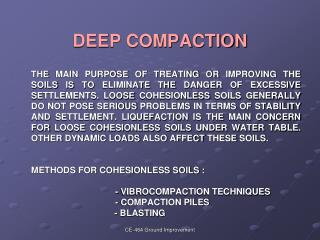 DEEP COMPACTION