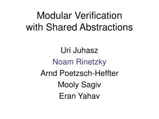 Modular Verification  with Shared Abstractions