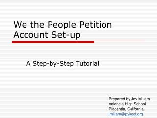We the People Petition Account Set-up