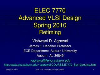 ELEC 7770 Advanced VLSI Design Spring 2010 Retiming