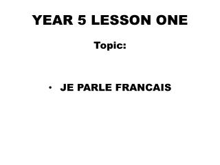 YEAR  5  LESSON ONE