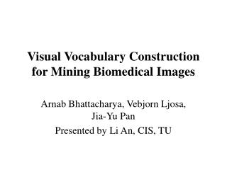 Visual Vocabulary Construction for Mining Biomedical Images