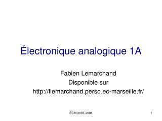 lectronique analogique 1A