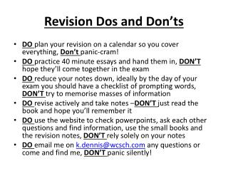 Revision Dos and Don'ts