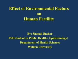 Effect of Environmental Factors on Human Fertility