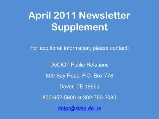 April 2011 Newsletter Supplement