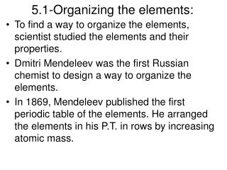 5.1-Organizing the elements: