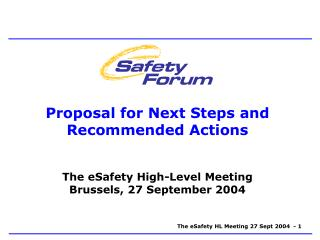 Proposal for Next Steps and Recommended Actions