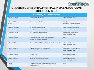 UNIVERSITY OF SOUTHAMPTON MALAYSIA CAMPUS (USMC) INDUCTION  WEEK