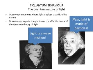 7 QUANTUM BEHAVIOUR The quantum nature of light