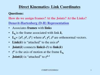 Direct Kinematics- Link Coordinates