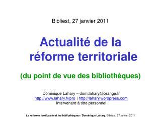 Bibliest, 27 janvier 2011