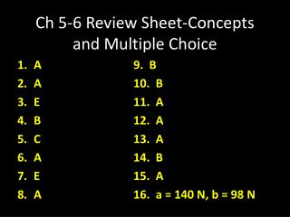 Ch 5-6 Review Sheet-Concepts and Multiple Choice