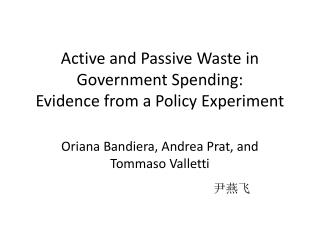 Active and Passive Waste in Government Spending: Evidence from a Policy Experiment